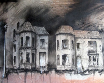"Charcoal, Brush Park, Detroit - Fine Art Print - ""The Mansard Twins (287 & 295 Alfred)"" - Abandonings, Detroit, Charcoal, Mixed Media"