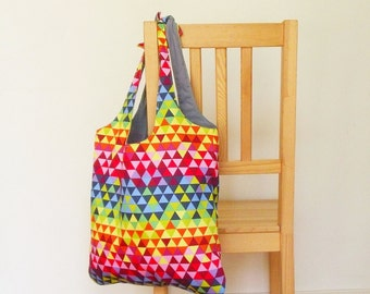 Tote bag in geometric rainbow - ready to post