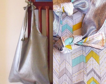 Reversible silver tote bag - heavyweight, cotton, yellow and blue chevron print