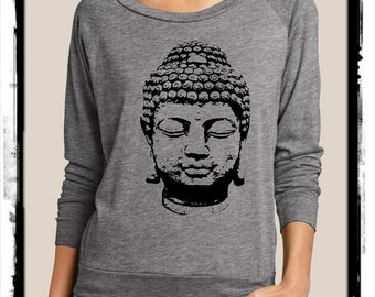 Buddha Heathered Slouchy Pullover long sleeve Girls Ladies shirt  screenprint Alternative Apparel