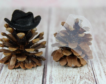 Mr. & Mrs. Pinecone Cake Topper