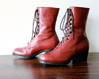 SALE! Vintage Victorian Boots, Lace-ups, Dark Cherry, 1920s, sz 5 US/Can, Eur sz 35, Assemblage, Display