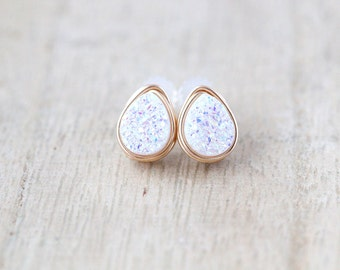 Teardrop Druzy Studs , Post Earrings in Gold Rose Sterling Silver , Opal White Minimalist Fashion,  - Confetti Cream