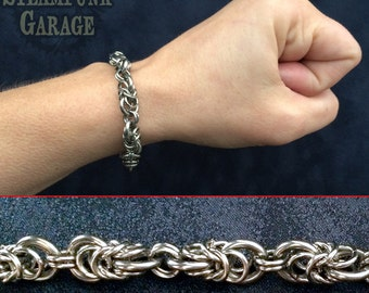Hybrid Byzantine Box Segments - Stainless Chainmaille