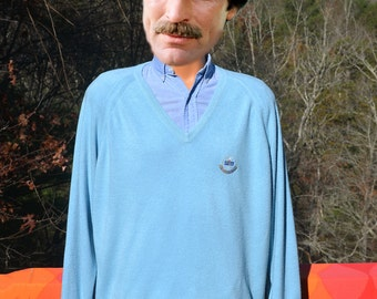 vintage 80s v-neck sweater PGA NATIONAL golf club light blue soft preppy Large palm beach aureus
