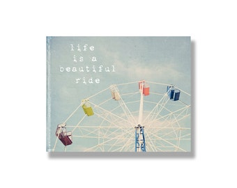 ferris wheel photo canvas, kids wall art, nursery decor, blue, red, yellow, fairground, typography, whimsical - Life is a beautiful ride