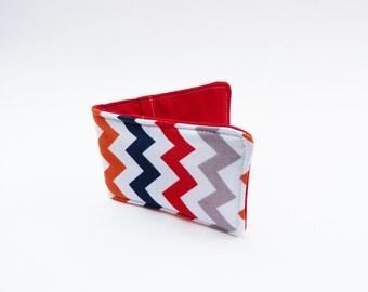 Multi colour chevron stripe card case