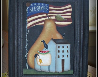 Primitive Americana Flag Saltbox House Pear Sheep 5 x 7 Canvas Framed Home Decor