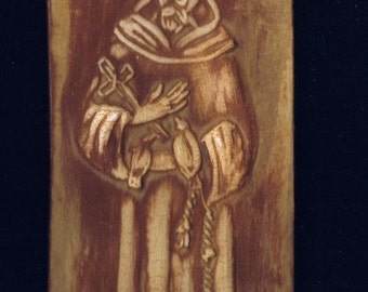 "St. Francis – Ceramic Plaque – approx. 2"" x 6"""