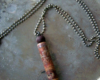 SALE...Wooden Necklace Pendant ~  Upcycled PIANO ~ Maroon Cranberry and Grey