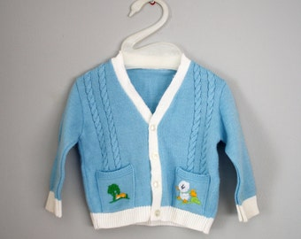 70s 80s Embroidered Ducky Baby Cardigan Sweater Sz 3-6 months
