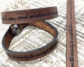Serenity Prayer Leather Bracelet Wrap Laser engraved bracelet God Grant me the Courage Bracelet --7242