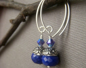 Genuine Lapis Earrings, Natural Stone Jewelry, Sterling Silver, Royal Blue Gemstone Rondelle Dangle, Lapis Lazuli Jewelry
