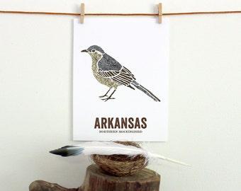 Arkansas State Bird, Nature art, Outdoor art, Vintage Map art, Art print, Wall decor, Rustic Nursery, Map prints -  NORTHERN MOCKINGBIRD