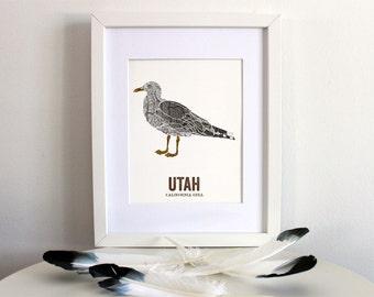 Utah State Bird, Art, Nature art, Outdoor art, Vintage Map art, Art print, Wall decor, Rustic Nursery, Map prints - CALIFORNIA GULL