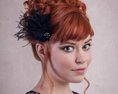 Antoinette Black Feather Hair Clip Fascinator flapper headpiece