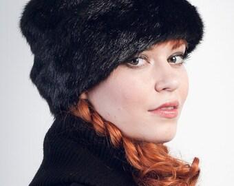 Black Faux Fur Hat Russian Cossack Hat Fake Fur