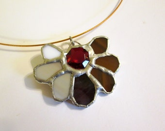 Stained Glass Pendant with Crimson Crystal Centerpiece - Desert Moth