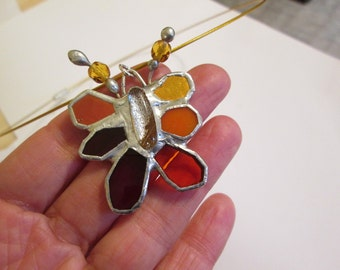 SALE - Stained Glass Pendant with Fused Dichroic Cab and Crystals - Firefly