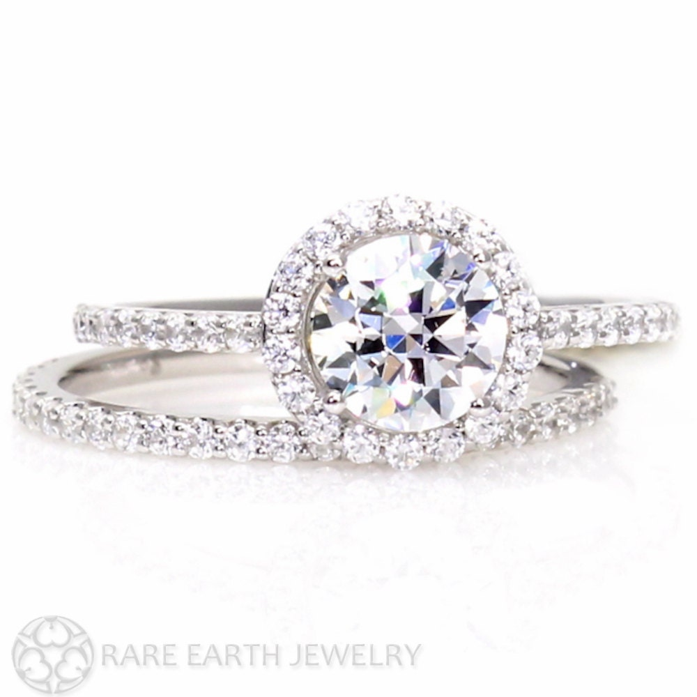 14k halo moissanite engagement ring wedding set