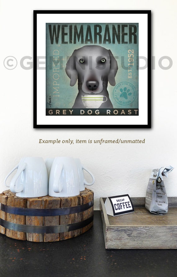 Weimaraner Coffee dog company vintage style graphic artwork giclee archival print by Stephen Fowler Pick A Size