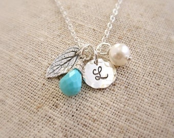 December birthstone necklace, Silver initial necklace, leaf necklace, freshwater pearl, personalized birthstone necklace, turquoise necklace