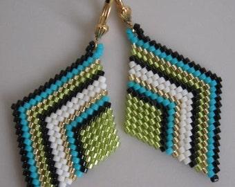 Seed Bead Diamond Shape Earrings - Chartreuse/Turquoise
