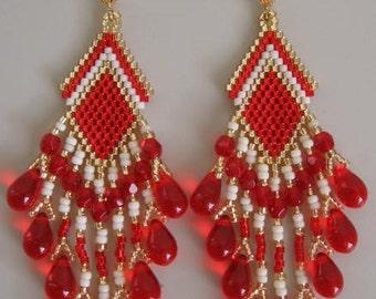 SALE - Seed Bead Dangle Earrings - Red