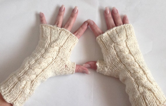 Knitted Arm Warmers Wrist Warmers Cable Pattern Knitted
