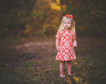 dress - Fall orange, pumpkin, damask, half sleeve baby toddler girl photo shoot Thanksgiving Holiday dress first birthday dress