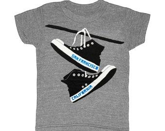 KIDS San Francisco Converse - Childrens T-shirt Tee Shirt SF Indie Hipster Toddler Youth West Coast California Bay Area Shirt Gray Tshirt