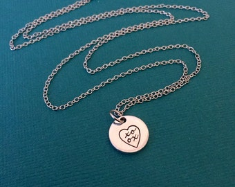 Xoxo Heart Necklace - Hand Stamped Brain Necklace - Small Pendant - Heart Charm - Anatomy Jewelry