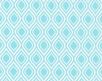 SALE fabric, 6 dollars per yard sale,  Aqua fabric,  Metro Living fabric- Mod Stencil in Aqua- Choose The Cut. Free Shipping Available