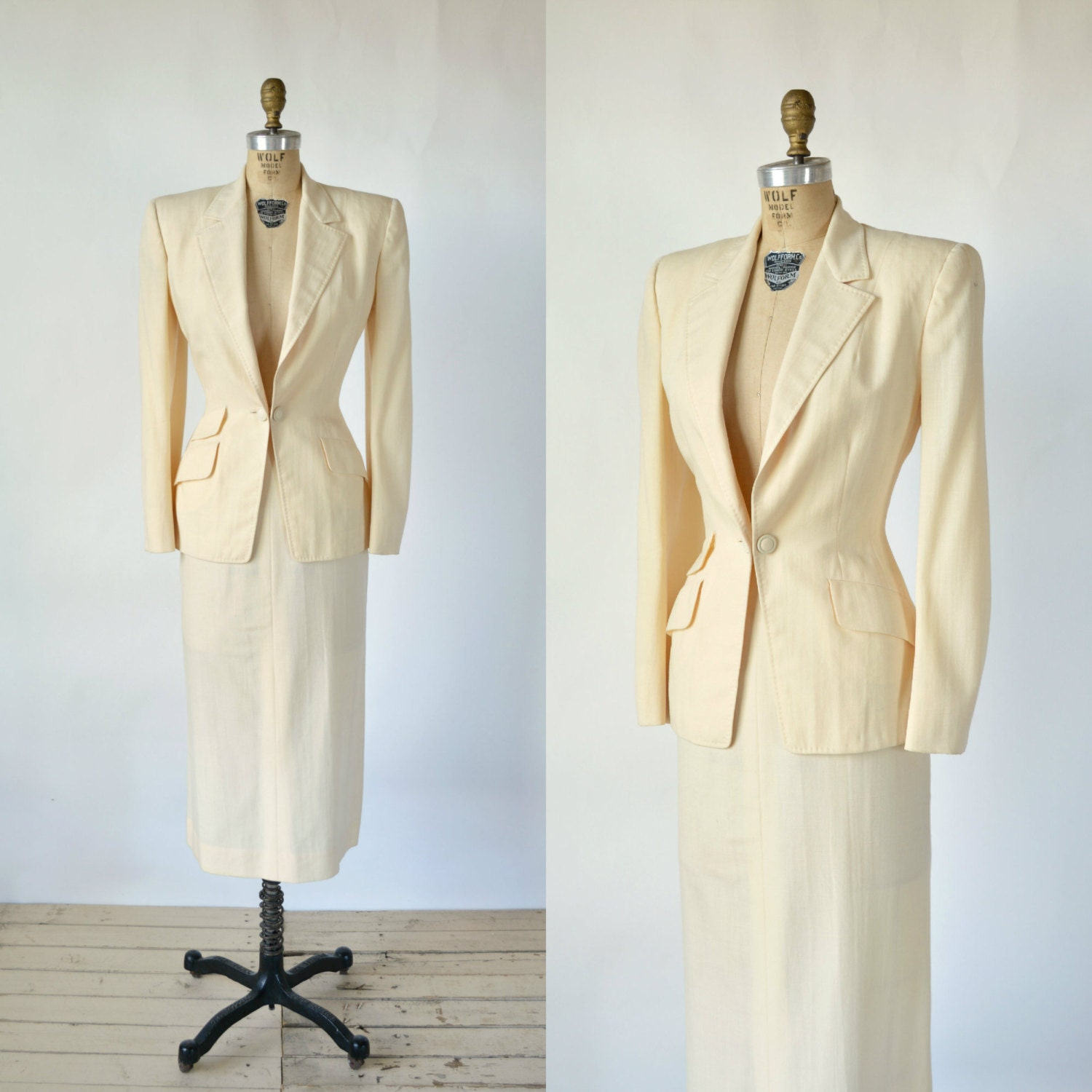 1940s Wedding Suit Vintage Cream Womens Suit by DalenaVintage