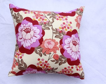 Amy Butler Floral Cushion with Peach and Purple Tones A