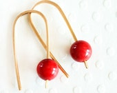 Red Coral Earrings Tiny Red Earrings 14 Karat Gold Filled Earrings Dainty Everyday Earrings - Handmade Jewelry