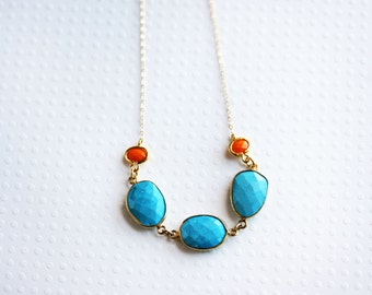 Turquoise Coral Necklace Turquoise Beaded Necklace Bib Necklace