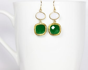 Emerald Earrings Square and White Oval Gold Inlay Dangle Earrings