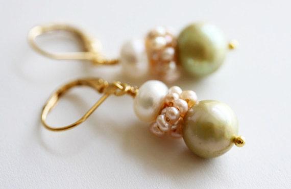 Sage Pearl Earrings  Sage Green Earrings Bridal Earrings Bridal Jewelry Freshwater Pearl Earrings