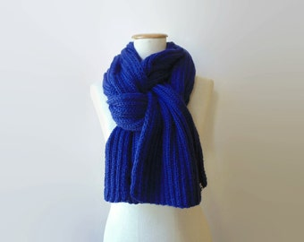 Cobalt Blue Cables Hand Knit Scarf, Shawl, Man, Royal Blue, Huge, Wrap, Merino Wool, Long, Waves Scarf, Fashion Accessories, Womens Scarves