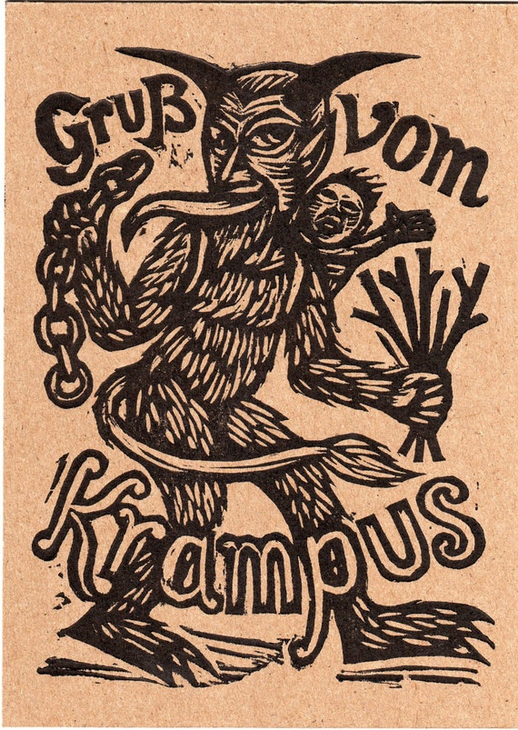 Krampus woodcut Letterpress Postcard