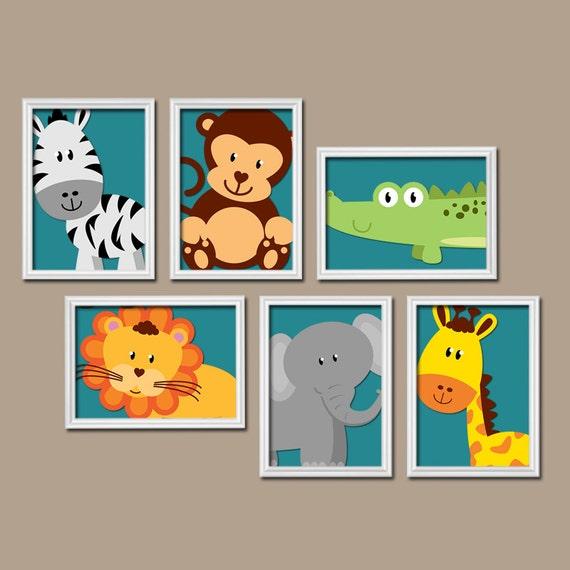 Jungle Wall Art Nursery : Boy animal nursery wall art jungle safari by