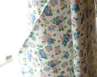 "Vintage 40s Cotton Voile Lawn Semi Floral Fabric  34"" wide - pink and blue"