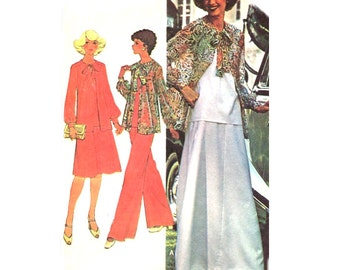 70s Easy Evening Skirt / Pants / Jacket / Camisole Top - Mother of Bride - Vintage Sewing Pattern McCalls 5471 - Size 16 / Bust 38 Uncut