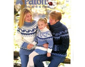 Patons Classic Country Yokes Sweater Knitting Pattern #971 - Shetland Chunky Yarn / Fairisle Knitting