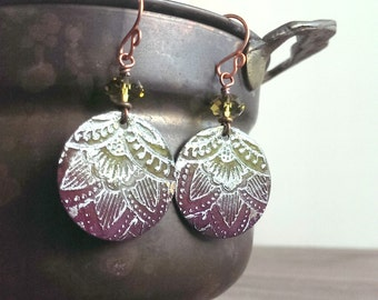 Etched mixed metal earrings - Lotus earrings - bright pink and lime green earrings