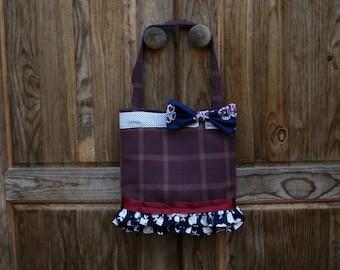 Vintage Fabric Tote Bag Plaid Burgundy Blue Apple Bowtie Pink Polkadot OOAK
