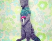 Reserved for Karen   Woodland Gray Fox   handmade knitted soft sculpture animal   OOAK