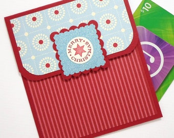 Christmas Gift Card Holder - Hand Stamped Merry Christmas Card - Christmas Money Card - Holiday Giftcard Holder