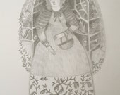 portrait of a woodland dreamer woman - original pencil drawing on paper